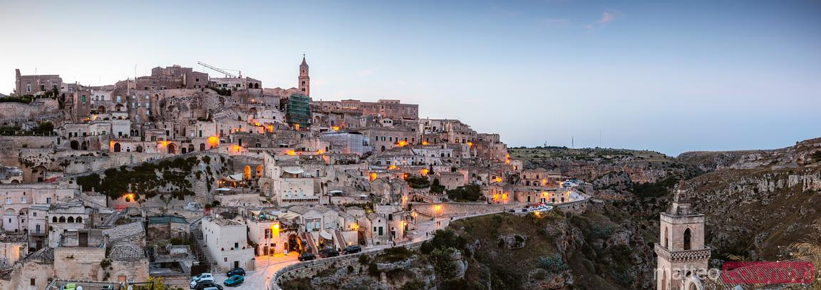 Panoramic of Sassi di Matera at dusk, Matera, Italy