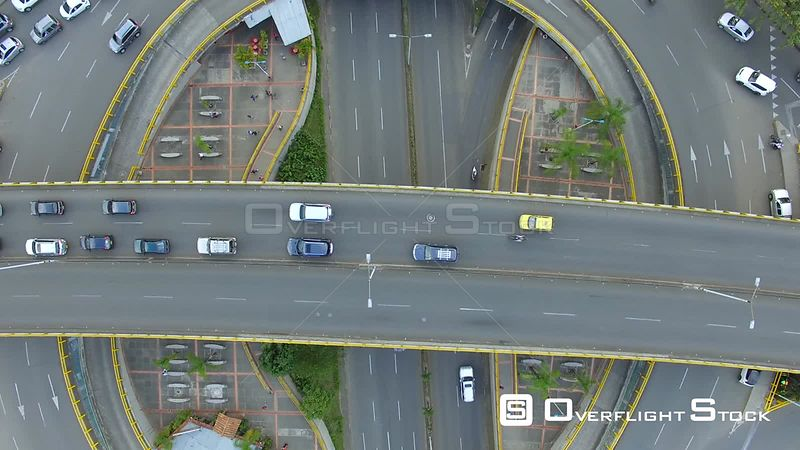 Traffic Circle in Medellin Colombia Drone Footage