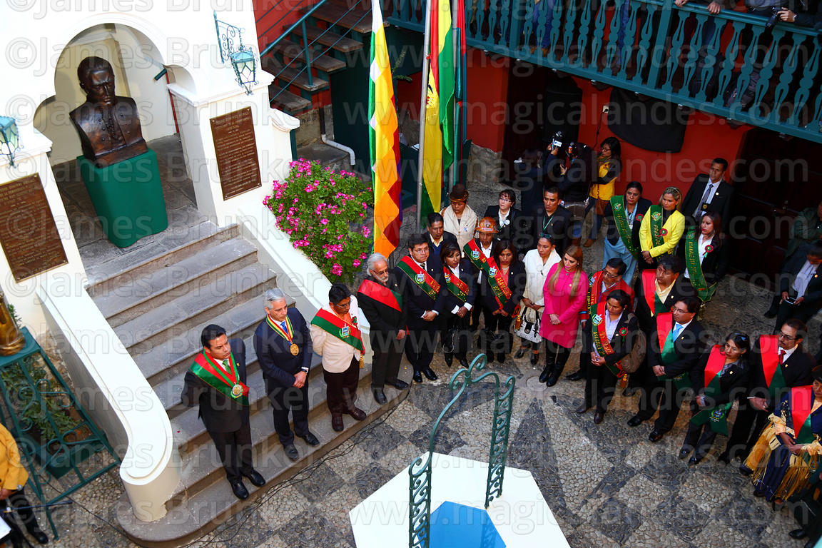 The Bolivian vice president Alvaro Garcia Linera and other officials at the start of ceremonies for the reading of the Procla...