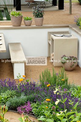 Jardin contemporain. Designer : Thomas Hoblyn Design Agency. Hampton Court. Angleterre