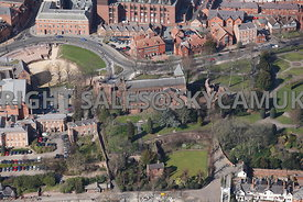 Chester aerial view of the Parish church of St John