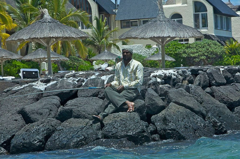 Angler in a resort Mauritius