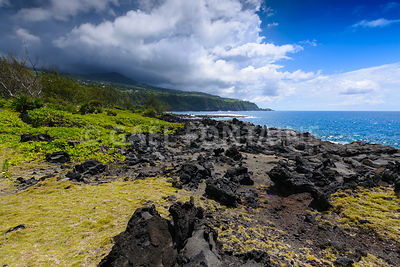 Coast with volcanic rock, South of Reunion Island