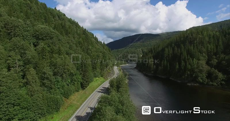 Mountain Road and River in Steinkger Norway
