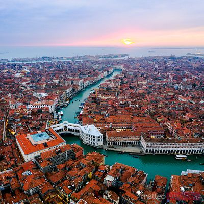 Aerial view of Rialto bridge at sunset, Venice