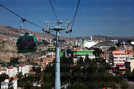 Green Line cable car gondolas and station in Obrajes, La Paz, Bolivia