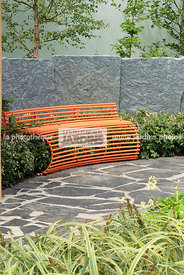 Bench, Contemporary garden, Low wall, Pavement, Resting area, Low wall stone, Digital