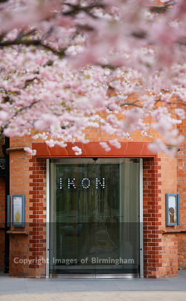 Ikon Gallery with blossom in Brindleyplace, Birmingham, West Midlands, England