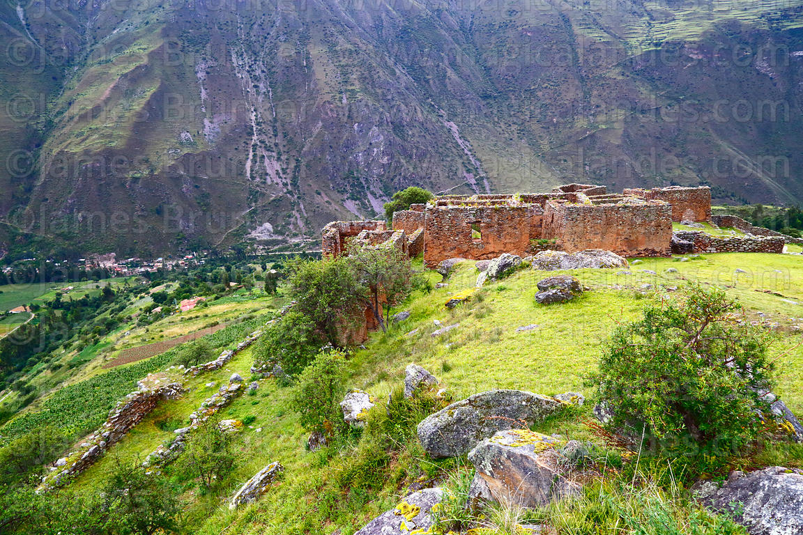 View looking down over Inca site of Pumamarca to Patacancha Valley, Cusco Region, Peru