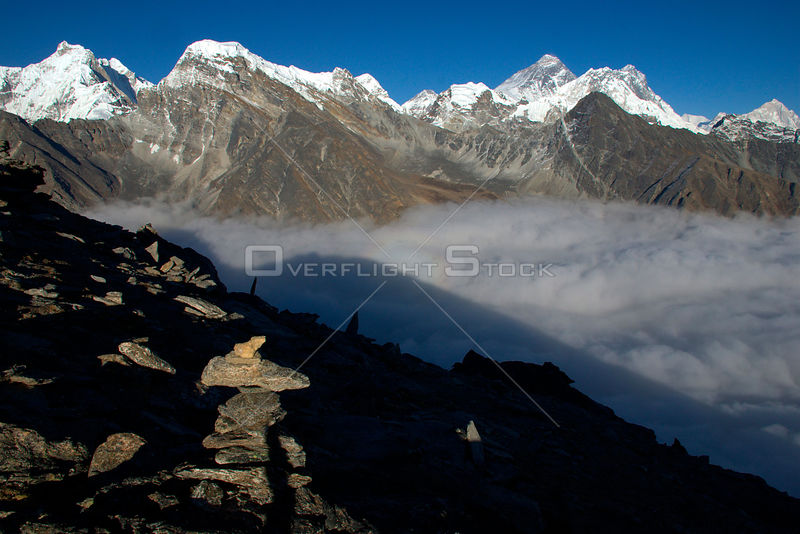 NEPAL Everest Region -- View from Gokyo Ri (Gokyo Peak) showing Mount Everest (8848m) on the top centre left and the peaks of...