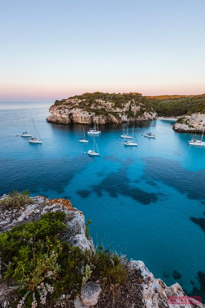 Coastline at sunrise, Cala Macarella, Menorca