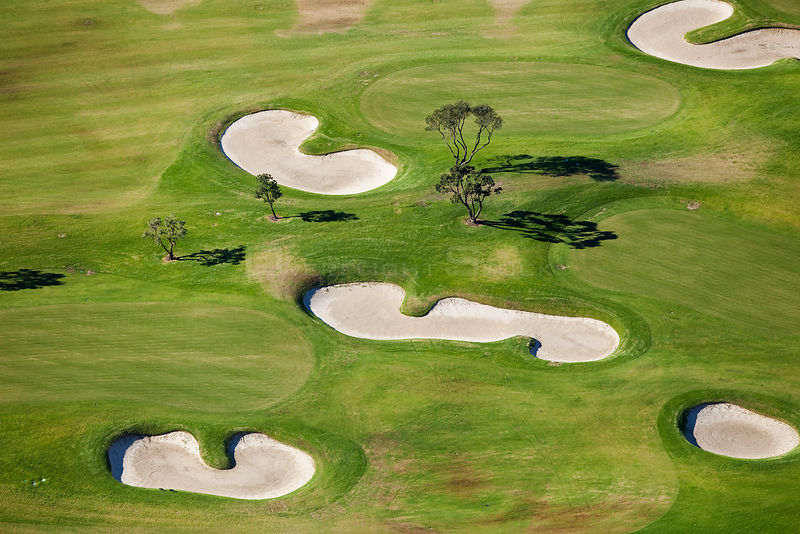 Aerial view of golf course, Western Cape, South Africa, August 2009