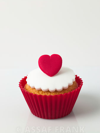 Cupcakes with heart shaped decoration