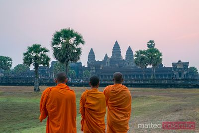 Buddhist monks inside Angor Wat temple, Cambodia
