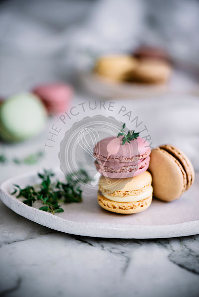Colorful Macarons on a marble background