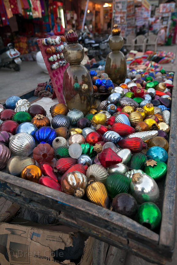 Old relcaimed glass bulbs at a bazaar in Jodhpur, Rajasthan, India