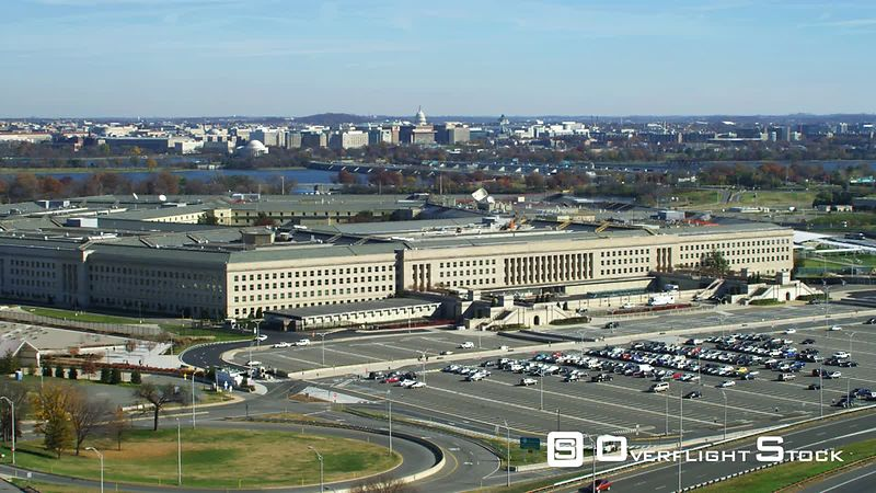 Approaching the Pentagon from the west  Washington DC in background.
