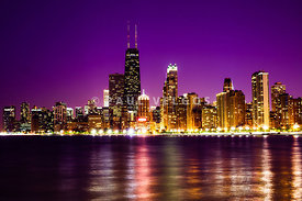 Chicago Skyline at Night with Purple Sky