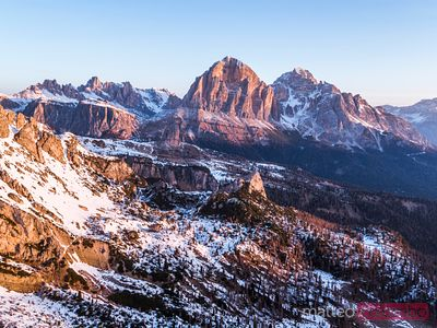 Aerial view of sunrise over Dolomites mountains