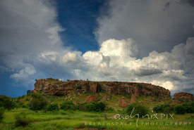 A single rock outcrop of historic Mapungubwe Hill, site of the capital of the earliest known kingdom in sub-Saharan Africa th...