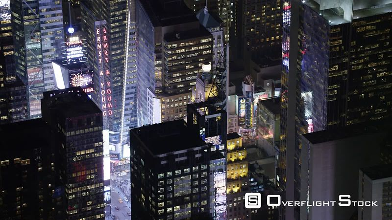 Flying Over Midtown Manhattan at Night, Looking Back at Times Square.