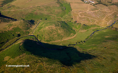 Cow Castle Iron Age hill fort Exmoor National Park from the air