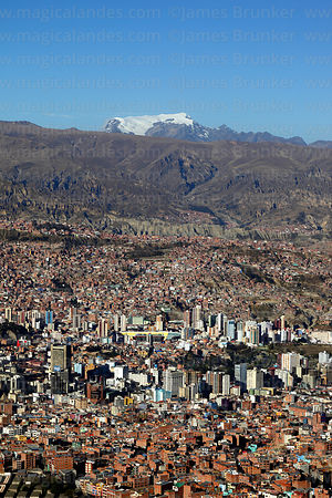 View of city and Mt Mururata, seen from Sallahumani viewpoint at La Ceja, La Paz, Bolivia