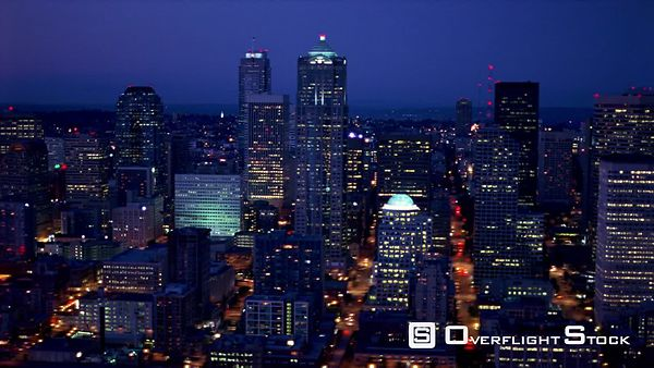Slow night flight over downtown Seattle.