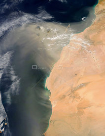 EARTH Sahara Desert -- 10 Mar 2007 -- Thick plumes of dust blew off the west coast of Africa and over the Canary Islands. In ...