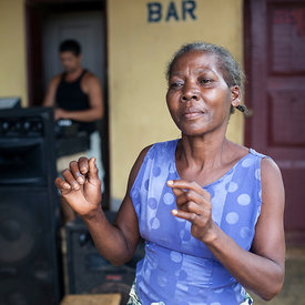Paula dances at the White House bar, Sao Tome and Principe