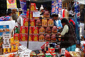 Stall selling paneton and chocolates in street market , La Paz , Bolivia