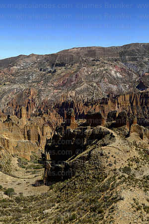 View across rock formations of Palca Canyon, La Paz Department, Bolivia