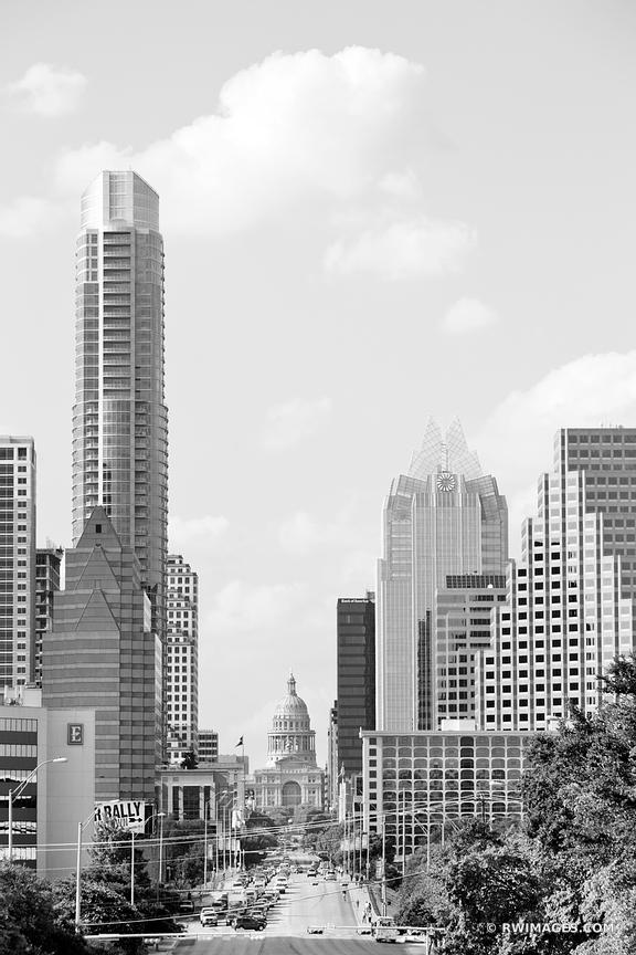 CONGRESS AVENUE DOWNTOWN AUSTIN TEXAS BLACK AND WHITE VERTICAL