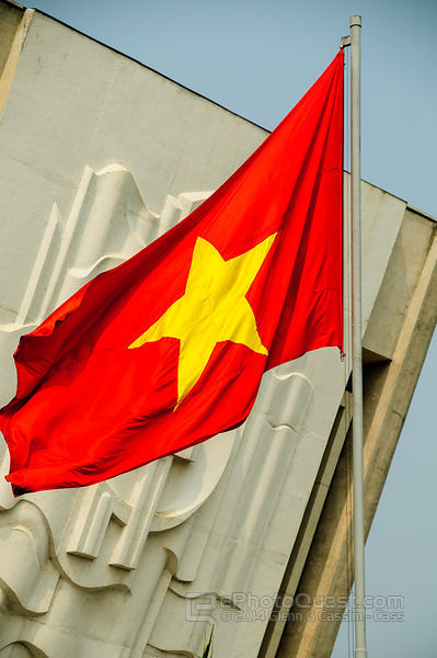 Vietnamese Flag Outside of Ho Chi Minh Museum