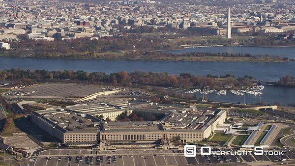 Above the Pentagon With a Glimpse of Washington DC in Background.
