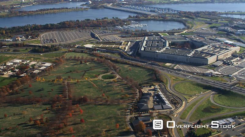Wide View of Pentagon and Arlington Cemetery, Virginia.
