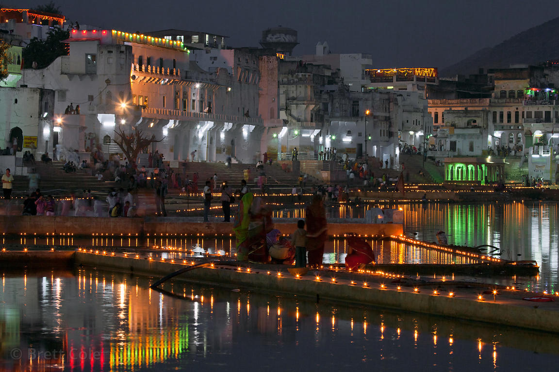 Nighttime view of Deepdan candle lighting ceremony on Pushkar, Rajasthan, India