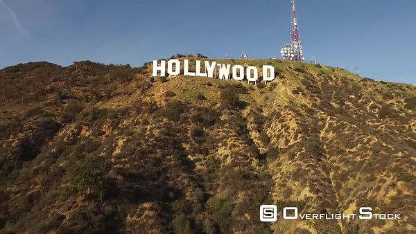 Hollywood Sign Aerial Wide Drone California
