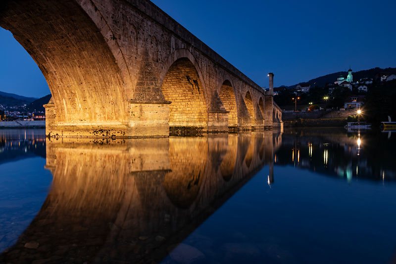 The Bridge on the Drina River at Dusk