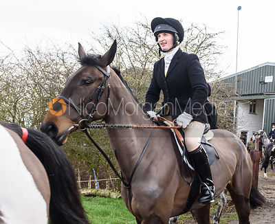Louisa Fear leaving the meet. The Cottesmore Hunt at Launde Park Farm