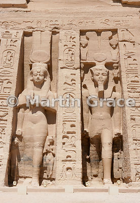 Colossi of Queen Nefertari (left) and Ramesses II (right) on the facade of the Temple of Hathor, Abu Simbel, Egypt