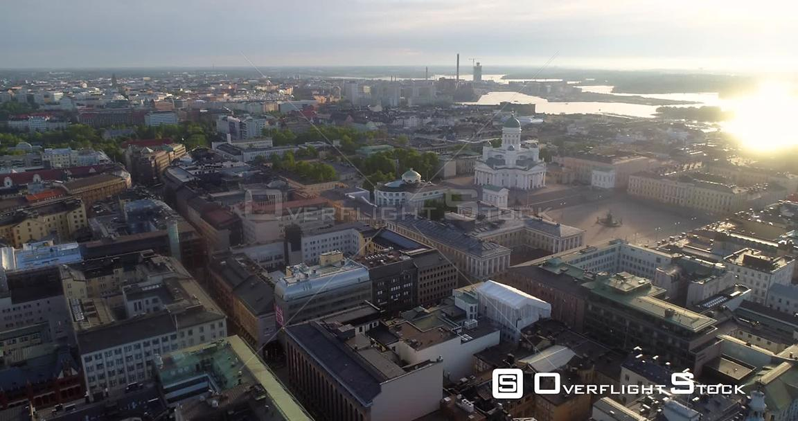 Helsinki Cathedral, Aerial Sideway View of the City and the Church, on a Sunny Summer Morning Dawn, in Helsingfors, Uusimaa, ...