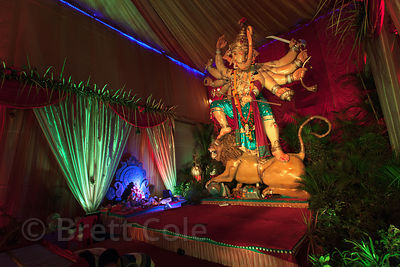 A large Ganesh idol in a pandal in Shekwalhi, Mumbai, India. Taken during the Ganesh Chaturthi festival.