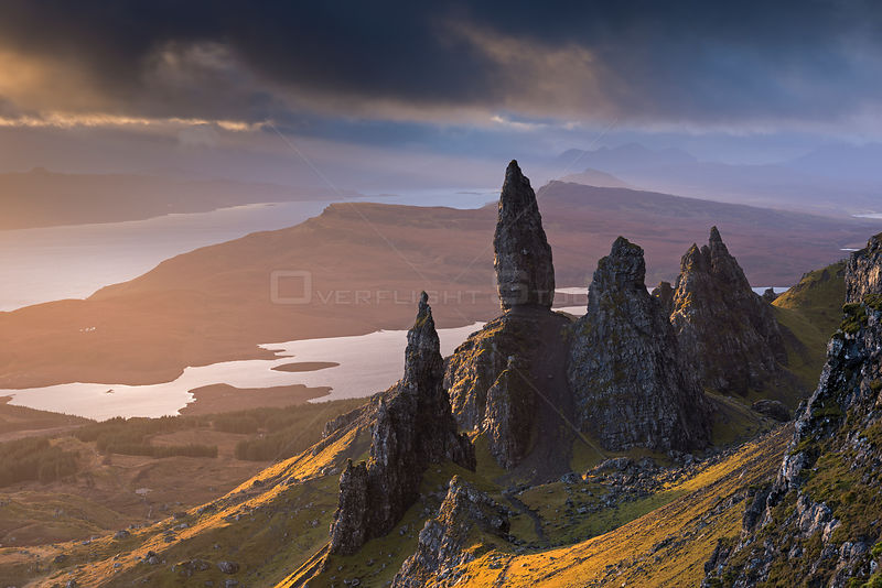 Old Man of Storr basalt pinnacles on the Isle of Skye, Scotland. November 2012.