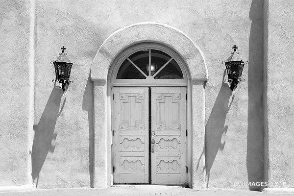 DOOR SAN FELIPE DE NERI CHURCH HISTORIC OLD TOWN ALBUQUERQUE NEW MEXICO BLACK AND WHITE