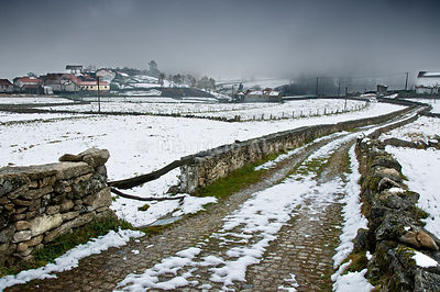 The little village of Venda Nova, in a snowy day, in the Montalegre region. Trás-os-Montes, Portugal