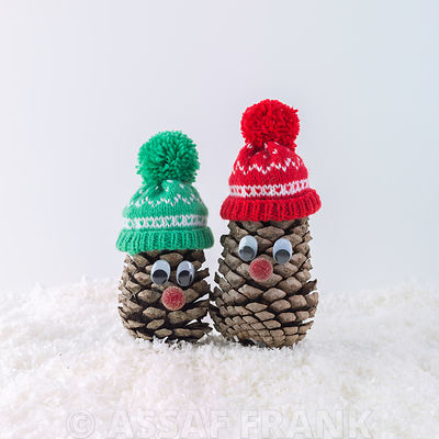 Beautifully decorated pine cones on snow