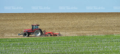 View of tractor ploughing through field, Champagne-Ardennes, Fra