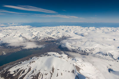 Aerial photo of Spitsbergen, Svalbard, Norway, July 2007.