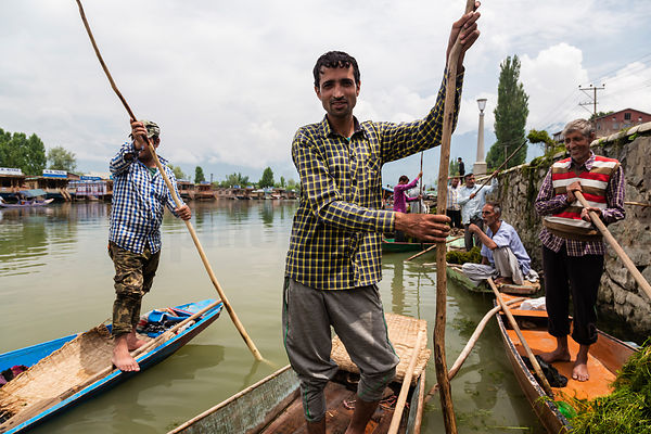 Workers Clearing Noxious Weedx from Dal Lake